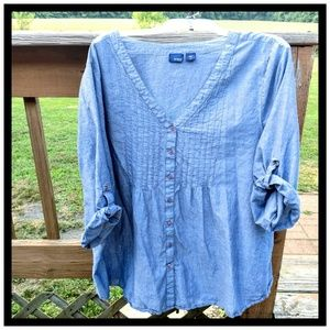 Denim-look, cotton pullover or button front top